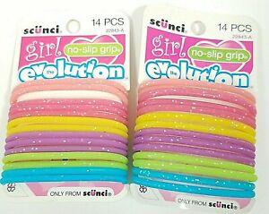 Scunci No Slip Grip Gel Hair Ties 14 pc Lot of 2 #22843