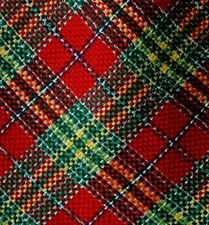 """Green, Red Plaid Woven Silk COLPO DI SETA Tie Made in  ITALY 3.8"""" Wide 61"""" Long"""