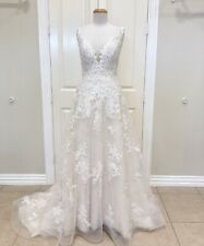 Rebecca Ingram - Courtney Sz 14 Ivory/Light Gold A-Line Lace Wedding Dress
