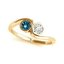 1 Cts Blue & White VS2-SI1 2 Stone Diamond Solitaire Ring 14k Yellow Gold