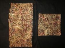"PINE CONES SET OF 6  5"" x 5"" HANDMADE FABRIC COASTER SET"