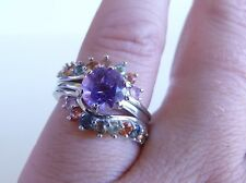 GENUINE 1.95ct! Fancy African Sapphire & Amethyst Two Ring, Sterling Silver 925!