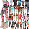 Women Christmas Xmas Santa Snowman Printed Stretch Leggings Trousers Yoga Pants