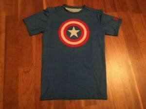 UNDER ARMOUR COMPRESSION WORK OUT CAPTAIN AMERICA JERSEY TEE T SHIRT Sz Mens XL
