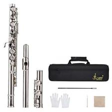 Flute Silver Plated 16 Holes C Key Cupronickel + Cleaning Cloth Gloves Bag V0T0