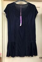 M&S Tunic Top Navy Size 14 New With Tags