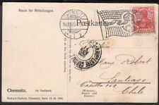 1271 GERMANY TO CHILE POSTCARD 1905 CHEMNITZ RPO AMBULANCIA e/ CORONEL i VALPo