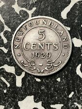 1929 Newfoundland 5 Cent (Many Available) Circulated (1 Coin Only) Silver!