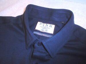Thomas Pink Navy Knit 100% Cotton Sport Shirt NWT 15  x 36 Medium $195