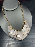 "Vintage Pink  Mother Of Pearl   Cha Cha Charm  Beaded Strand Necklace 16"" Nice !"