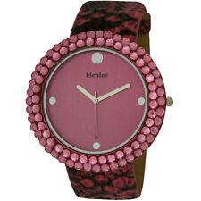 Henley Ladies Round Polished Decorative Cut Watch