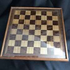 Antique Vintage (1920s/30s) Wooden Inlay Chess Board With Glass Top