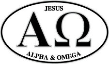 Christian bumper sticker decal Alpha and Omega euro