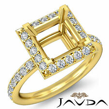 Diamond Engagement Princess Semi Mount Halo Proposed Ring14k Yellow Gold 0.55Ct