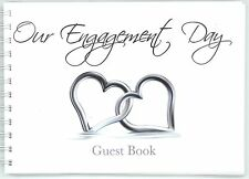Engagement guest book silver hearts in water
