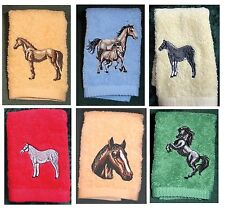 Personalised embroidered hand towel and  face cloth set with horse and name on