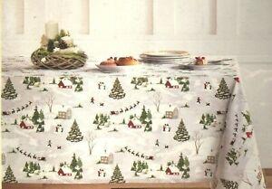 Envogue Christmas Village Tablecloth Santa Sleigh Snowman 60x84 60x102 60x120 70