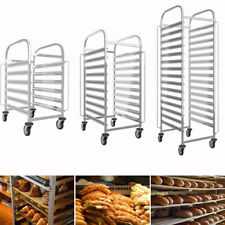 More details for stainless steel racking trolley bakery bread roasting tray cooling slot shelves
