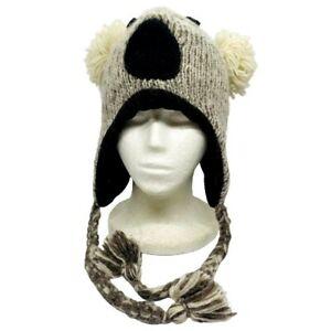 Koala Animal Himalayan Handcrafted In Nepal 100% Knit Winter Wool  Bonnet Beanie