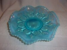Blue Opalescent Crimped Bowl Northwood Glass CASHEWS Pattern Early 1900's