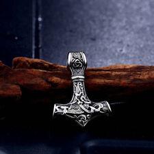Edelstahl Anhänger Thorhammer sehr detailliert Odin Mjolnir Wikinger Kelten NA53