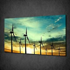 WIND TURBINES SUNSET MODERN CANVAS WALL ART PRINT PICTURE READY TO HANG