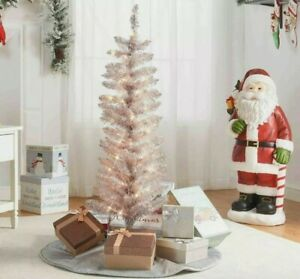 """NEW Holiday Time 4"""" 4 FT Pre-Lit Tinsel Rose Gold Christmas Pencil Tree Indoor"""