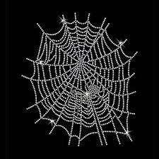 Spider web spider strass diamante crystal iron on t shirt design transfert