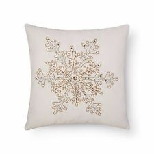 Threshold Sour Cream Beaded Snowflake Metallic Velvet Throw Pillow