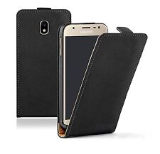 SLIM BLACK Leather Samsung Galaxy J3 Duos 2017 Flip Case Cover Pouch