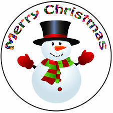 """Christmas Cake Topper Snowman - Easy Precut Round 8"""" (20cm) Icing Decoration"""