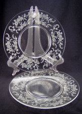 """PAIR TIFFIN ROSE Etched Crystal Luncheon Plates 8 1/4"""" Tiffin-Franciscan Perfect"""