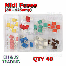 Assorted Box of Midi Fuses 30 40 50 60 70 80 100 125amp Fuse Qty 40 Car Auto