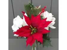 Artificial Christmas Festive Flowers Bunch - Poinsettia, Rose, Holly, Berry Pine