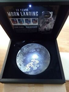 50 YEARS MOON LANDING MEDALLION IN BOX: 064/120-only 120 issued