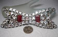 "Huge 5 3/4"" Long Ultra Rare Antique Victorian Rhinestone 2 piece Belt Buckle"