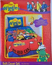 ~ Wiggles & BIG RED CAR DOUBLE BED DOONA QUILT COVER Rare + Bonus Dinner Set