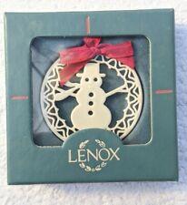 Lenox China Yuletide Snowman Christmas Ornament Original package red ribbon