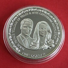 NIUE 2011 WILLIAM AND CATHERINE ROYAL WEDDING SILVER PLATED PROOF $1