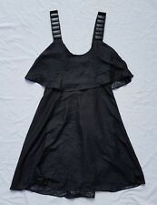 AS NEW Kookai Size 34 (6) Black Dress Wooden buttons Flounce Mini Sleeveless