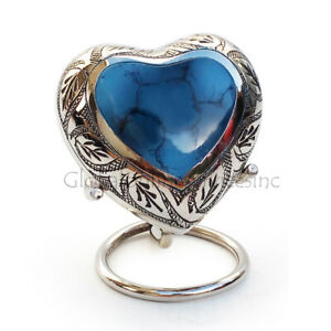 Mystic Blue Small Heart Keepsake Urn for Human Ashes, Funeral Leaf Urns
