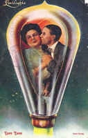 Vintage 1903 Couple Kissing in Light Bulb Lovelights Yum Yum Romantic Post Card