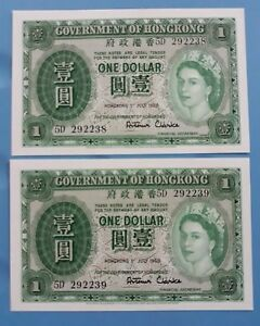 1958 GOVERNMENT OF HONG KONG $1 QE II (GEM UNC) <P-324Ab> Consecutive 2 Notes