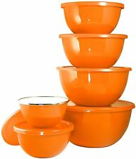 Calypso Basics by 12-Piece Enamel on Steel Bowl Set With Airtight Lids, Orange