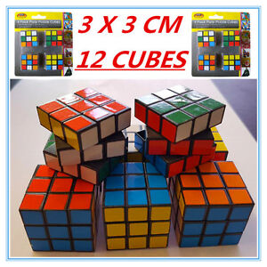12 X Mini Colourful Puzzle Magic Cubes 3X3 Birthday Gift Kid Adult Fun Twist Toy