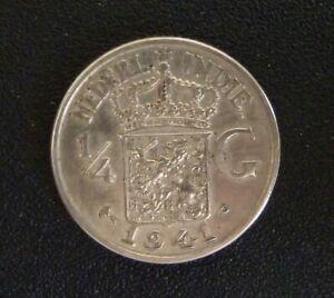 Netherland East Indies 1941P 1/4 Gulden Coin (.720 Silver)