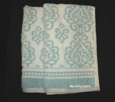 Nicole Miller Blue & White Medallion Hand Towels Set of 2 - Terrycloth Towel New