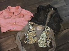 Justice Jean Denim Copped Pink Black Short Sleeve Jackets Grey Sequin 10 12
