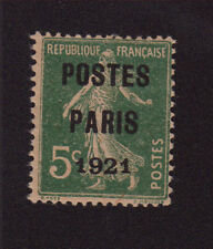 PREO 026 N°26 5 C VERT TYPE SEMEUSE CAMÉE POSTE PARIS 1921 GOMME AVEC CHARNIÈRE