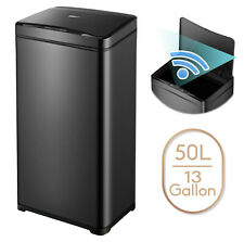13 Gallon Trash Can Black Steel Touchless Motion Sensor Soft Close Lid 50L
